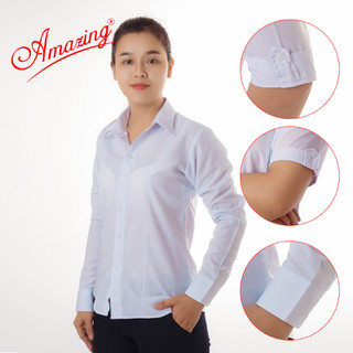 Áo trắng nữ, sơ mi nữ Amazing, đồng phục học sinh, somi KT silk trắng, thiết kế tay cách điệu nhẹ nhàng - 47501-0001 thumbnail