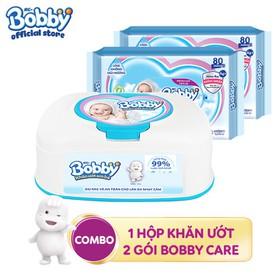 Combo 01 hộp Khăn ướt Bobby hộp tiện lợi + 2 gói Bobby Care bổ sung 80 miếng - 8934755035241