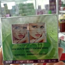 Kem mụn trắng da chống nắng  Elise với công thức đặc biệt kết hợp các chất chiết xuất từ thiên nhiên tạo thành loại kem ngừa mụn hiệu quả, mụn đầu đen, mụn cám ,mụn bọc và chất bảo vệ da khỏi tia cực tím cùng các dưỡng chất khác mang đến cho làn da m