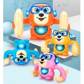 MIỄN SHIP Khỉ đồ chơi cảm ứng âm thanh nhào lộn có đèn nhạc - khinhaolon thumbnail