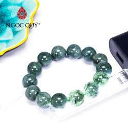 Vòng tay đá thạch anh tóc xanh hạt 15mm - Ngọc Quý Gemstones