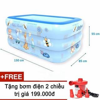 Bể bơi phao 3 tầng cho bé size 130x85x55cm tặng kèm bơm điện - Bể bơi 130cm thumbnail