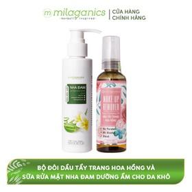 Bộ Đôi Dầu Tẩy Trang Hoa Hồng + Sữa Rửa Mặt Nha Đam Dưỡng Ẩm Dành Cho Da Khô MILAGANICS (235ml/ Bộ) - TUMIL0044SG