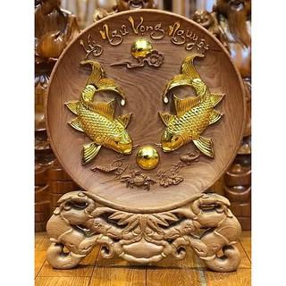 Tranh đĩa Lý Ngư Vọng Nguyệt gỗ hương thiếp vàng - TDG01 thumbnail