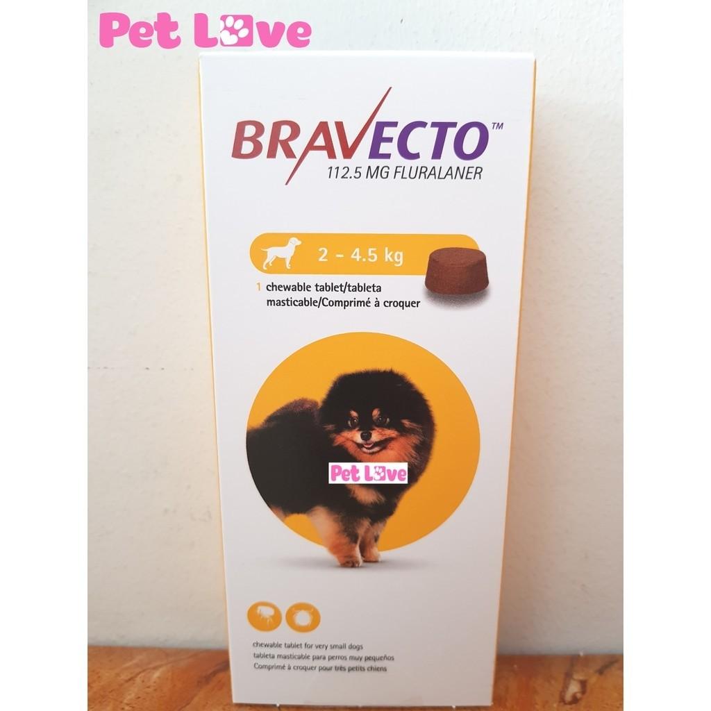 Bravecto trị ghẻ, viêm da, ve rận cho chó từ 2 - 4,5kg