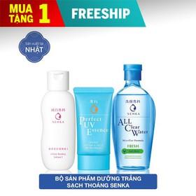 Bộ sản phẩm dưỡng trắng sạch thoáng Senka [Perfect UV Essence 50g + Lotion 200ml + All clear fresh 230ml] - 95067