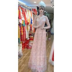 áo dài handmade kết vảy kim sa tỉ mỉ hồng da