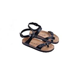 Sandal unisex xỏ ngón cổ cao đen đế trấu