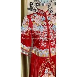 áo dài hỷ phục trung hoa năm nũ thêu cao cấp đỏ