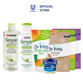 Bộ chăm sóc mặt đẹp toàn diện sữa rửa mặt + bộ 3 mặt nạ ST.IVES, nước hoa hồng+ nước tẩy trang Simple, sáp dưỡng Vaseline - TUUNI0059CB