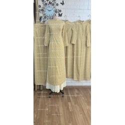 áo dài bê quả vàng hoa xinh co sẵn đủ màu mẫu đa dạng