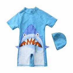 Bộ bơi liền thân kèm mũ cá mập xanh cho bé trai 3-7 tuổi