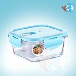 Hộp đựng cơm thủy tinh 320ml đựng thực phẩm BX2003 - Hộp chịu nhiệt cao dùng được lò viba