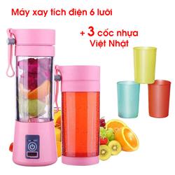 FREESHIP - COMBO máy xay tích điện 6 lưỡi loại đẹp + bộ 3 cốc nhựa Việt Nhật