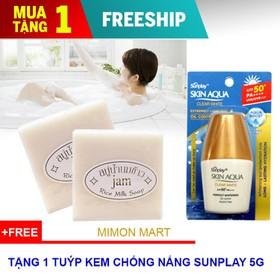 [TẶNG 1 CHỐNG NẮNG]Combo 6 cục xà bông kích trắng sữa gạo Collagen + Gluta Thái Lan - 6 Xà bông+SUNPLAY