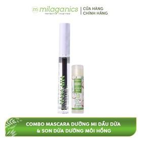 Combo Mascara Dưỡng Mi Dầu Dừa MILAGANICS 5ml + Son Dừa Dưỡng Môi Hồng, Trị Thâm Môi MILAGANICS 4.5g - TUMIL0002SG