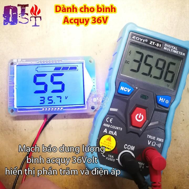 Mạch báo dung lượng bình acquy 36Volt hiển thị phần trăm và điện áp