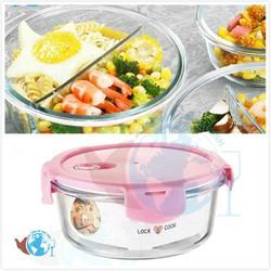 Hộp đựng cơm tròn 950ml 2 ngăn - hộp đựng thực phẩm dày chịu nhiệt cao cấp dùng lò viba - BX3001-2GD