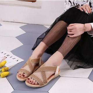 (Bảo hành 12 tháng) Giày sandal nữ quai chéo thêu hoa thổ cẩm - Giày đế xuồng nữ cao 2.5cm - Giày nữ da mềm 2 màu Đen và Kem - Linus LN226 - LN226K thumbnail