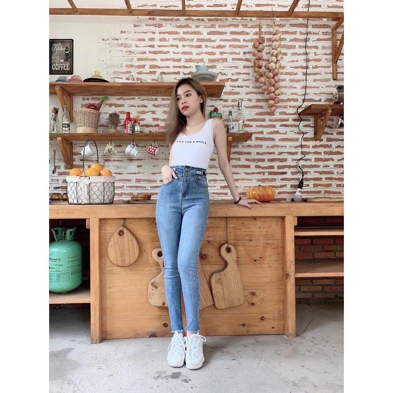 Quần jean nữ lưng siêu cao 2 nút lai tưa – TH776