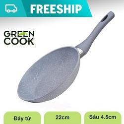 Chảo đáy từ vân đá chống dính Green Cook- Hàng chính hãng - GP01-22IH
