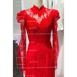áo dài đỏ ren kết full phale sang trọng không kém phần đơn giản tinh tế