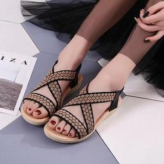 (Bảo hành 12 tháng) Giày sandal nữ quai chéo thêu hoa thổ cẩm - Giày đế xuồng nữ cao 2.5cm - Giày nữ da mềm 2 màu Đen và Kem - Linus LN226 - LN226D thumbnail
