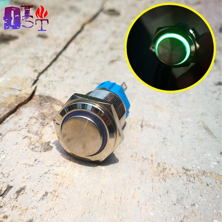 Nút nhấn nhả16mm kim loại có đèn-Màu xanh lá
