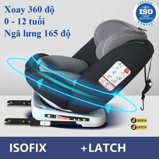 Ghế ô tô 2 chiều CHUẨN ISO 9001, điều chỉnh 4 tư thế từ nằm tới ngồi, xoay 360 độ ngã 165 độ và có thể điều chỉnh độ cao 7 cấp cho bé từ 0-12 tuổi (đen) - ghế xoay 360 thumbnail