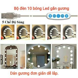 Set 10 bóng đèn LED chiếu sáng gương trang điểm- Dán gương tiện lợi - 5 chế độ sáng - Tăng giảm ánh sáng tặng kèm củ sạc - set 10 đèn dan gương thumbnail