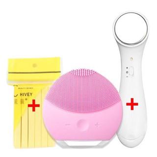 Bộ dụng cụ chăm sóc da mặt đầy đủ 3 món gồm Máy rửa mặt + Mút rửa mặt bọt biển + Máy massage ion đẩy tinh chất - Set chăm sóc da mặt cơ bản - HXT320 thumbnail