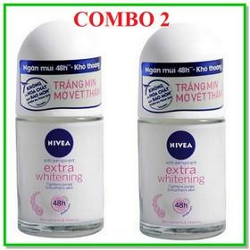 COMBO 2 CHAI Lăn khử mùi, Nivea Extra Whitening, lăn khử mùi, lăn khử mùi [12ml] - CB2- LKM