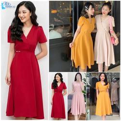 Đầm Váy Xòe Nữ Cổ V Đính Ngọc Tay Ngắn Màu Da Hồng Vàng Đỏ Đi Tiệc Công sở dạo phố