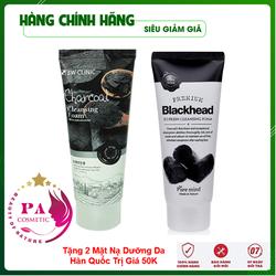 [Hàng Nhập Khẩu Hàn Quốc] Combo 2 Tuýp Sữa rửa mặt trắng da và làm sạch sâu chiết xuất từ Than hoạt tính 3W Clinic Hàn Quốc 100mlx2 Lọ