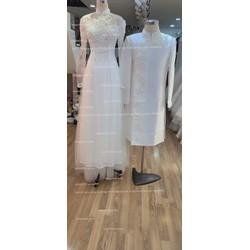 áo dài cặp trắng ren sang trọng cô dâu chú rể ngày cưới