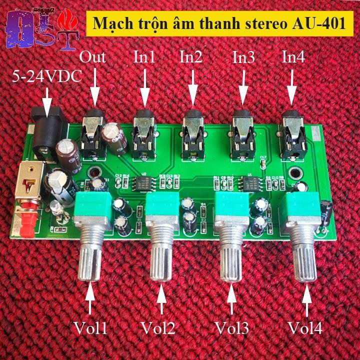 Mạch trộn âm thanh stereo AU-401 DC 5V-12V 4 Đầu vào 1 đầu ra