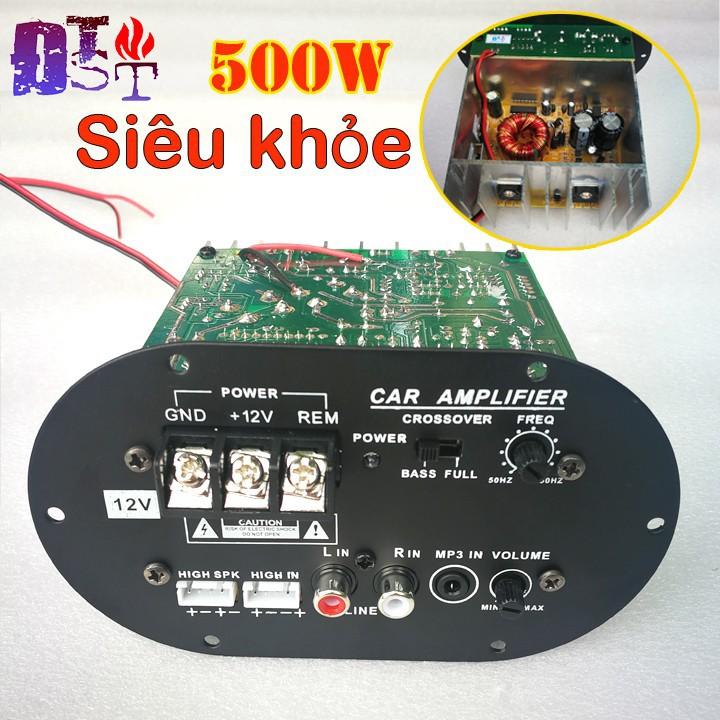Bộ khuếch đại âm thanh xe hơi 500W kiêm Sub điện 12V