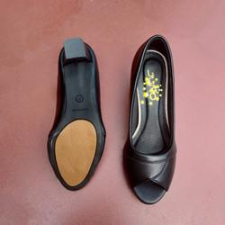 Ảnh thật - Giày da mềm hở mũi gót vuông có lót mút - Hàng VNXK siêu bền đẹp