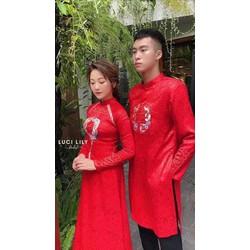 áo dài cặp thêu nam nữ gấm mềm 4 tà sang trọng đơn giản