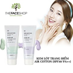 Kem Lót Kiềm Dầu Chỉnh Tông Da The Face Shop Air Cotton Make Up Base SPF30 PA