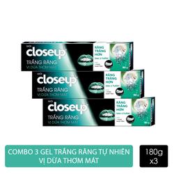 Combo 3 Kem đánh răng dạng gel Closeup Trắng Răng Tự Nhiên Vị Dừa Thơm Mát 180g