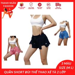 quần short nữ tập gym xẻ tà 2 lớp giúp co dãn hoạt động chạy nhảy tốt hơn, đồ tập gym nữ ngắn-SR011