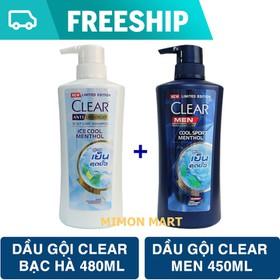 Bộ 2 dầu gội Clear bạc hà 480ml và Clear men 450ml Thái Lan mới 2020 - 2CLEAR-LIMITED