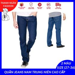 Quần jeans nam trung niên cao cấp ống suông có co dãn [ tặng vớ nam ] - XMTN08