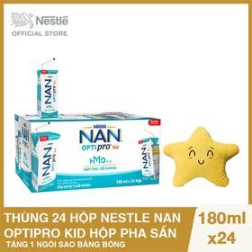 Thùng 24 hộp Nestle NAN OPTIPRO Kid Hộp pha sẵn 180ml - 6 lốc x 4 hộp x 180m, Tặng 1 Ngôi Sao Bằng Bông - NAN030505