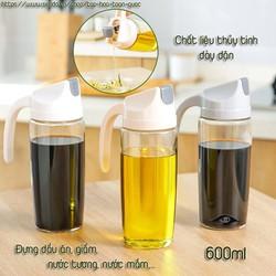Bình đựng dầu ăn và các loại gia vị bằng thủy tinh cao cấp có vòi rót dung tích 600ml