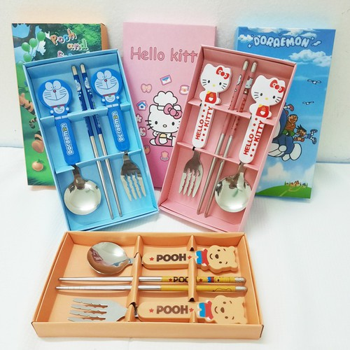 Bộ dụng cụ tập ăn 3 món inox thìa dĩa đũa họa tiết hoạt hình cho bé (BDS04)