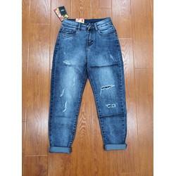 Quần jean xanh kavo blue form Baggy rách gối phong cách
