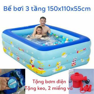 Bể bơi 3 tầng 150cm - phao bơi cho bé kèm bơm điện - BB150 thumbnail