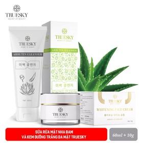 Bộ sản phẩm dưỡng trắng da mặt Truesky gồm (1 kem dưỡng trắng da mặt 10g + 1 sữa rửa mặt nha đam 60ml) - COMBO 1 KEM FACE 10G + 1 SRM NHA ĐAM 60ML